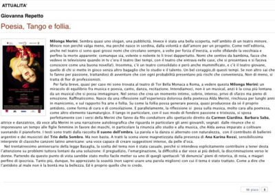 Il Paradiso degli Orchi recensione Milonga Merini