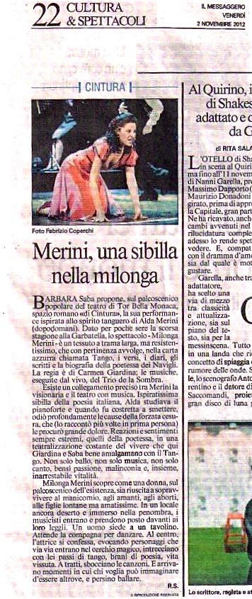 Il Messaggero recensione Milonga Merini